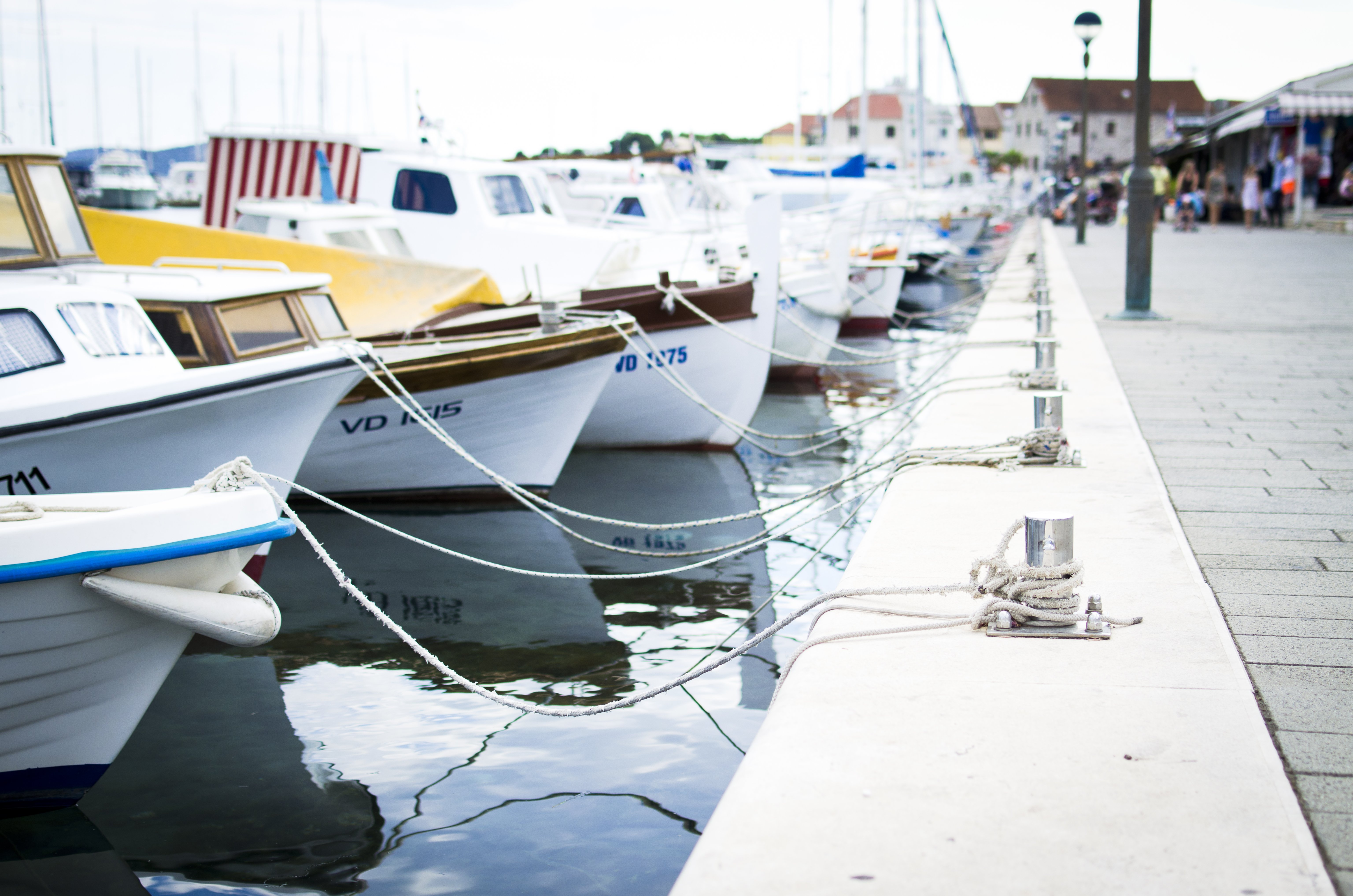 Sea dock with boats waiting
